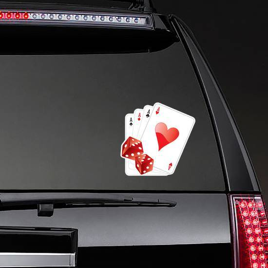 Illustration Of Four Aces With Two Dice Sticker example