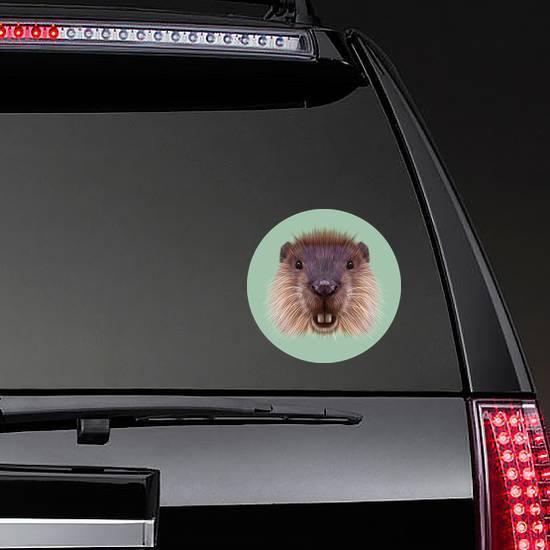 Illustrated Portrait Of Beaver On green Sticker
