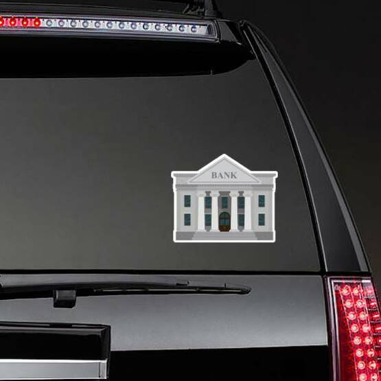 Standard Illustrated Bank Sticker on a Rear Car Window example