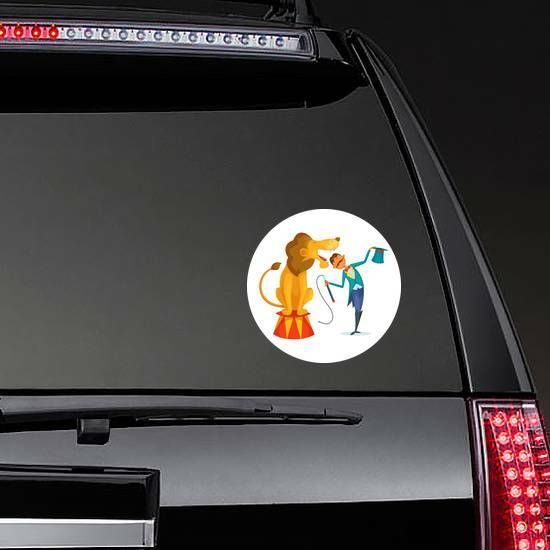 Circus Trainer With Lion Sticker on a Rear Car Window example