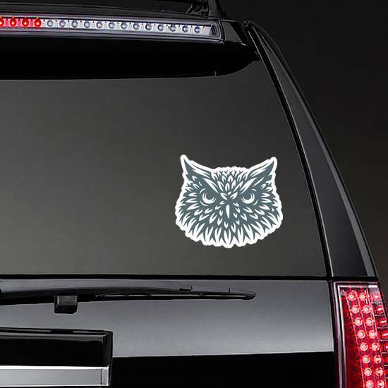 Owl Head Sticker on a Rear Car Window example