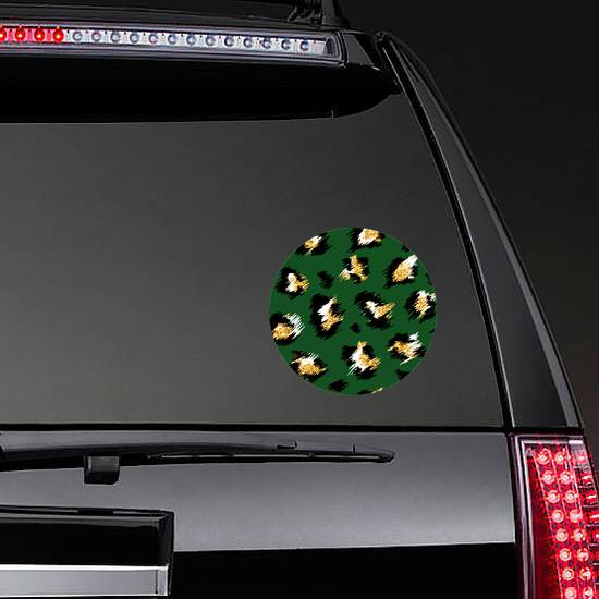 Fashionable Cheetah Pattern In Green Sticker