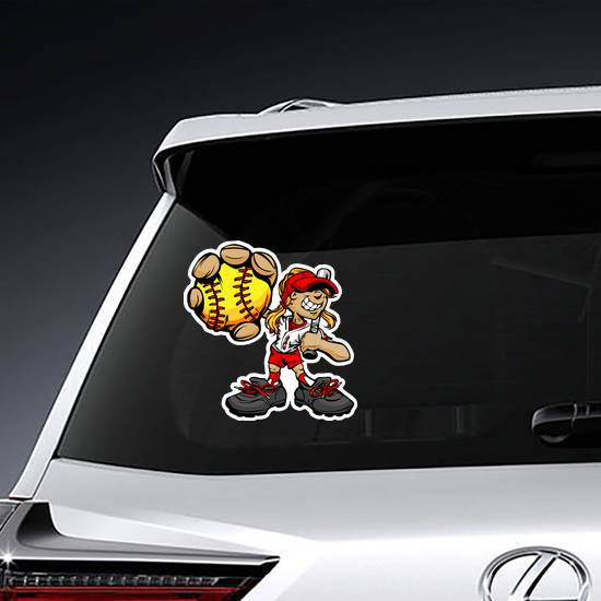 Fast Pitch Softball Girl Cartoon Player Sticker