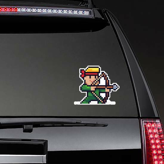 Pixel Art Male Archer Character Aiming For Target Sticker example