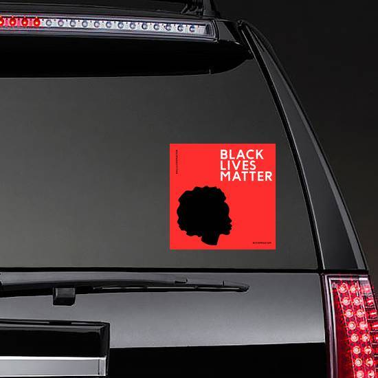 """Illustration With The Text """"Black Lives Matter"""" On Red Sticker example"""