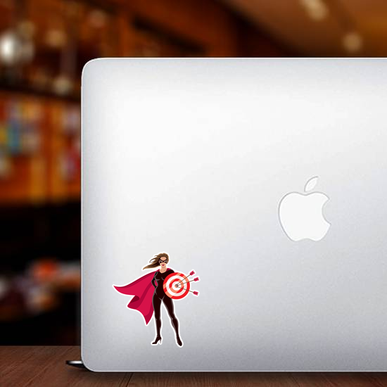 Female Superhero Holding Target Sticker