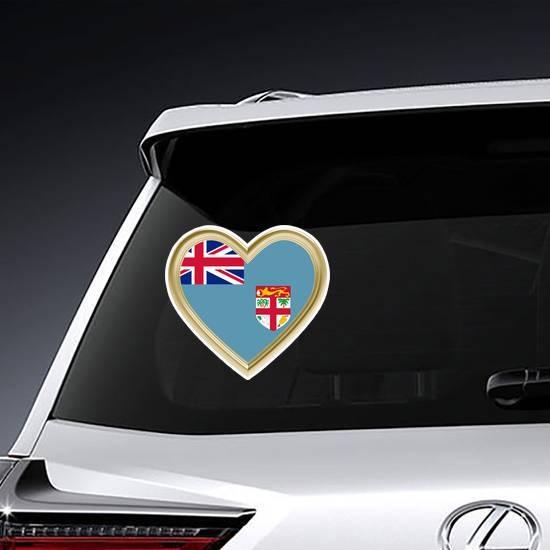 Fiji Flag In Golden Heart Sticker example