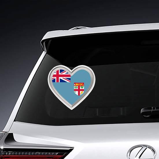 Fiji Flag In Silver Heart Sticker example