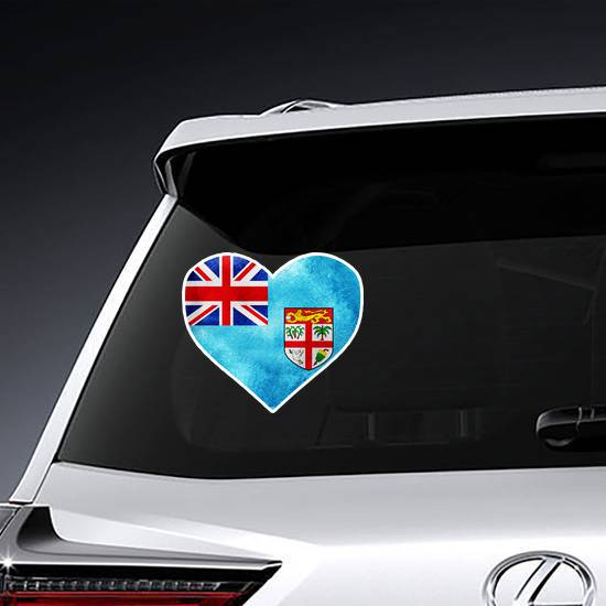 Fiji Flag Watercolor Heart Sticker example