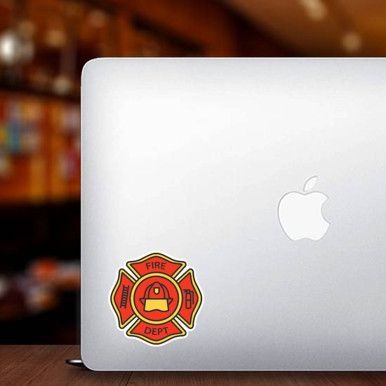 Fire Department Badge Color Icon Sticker