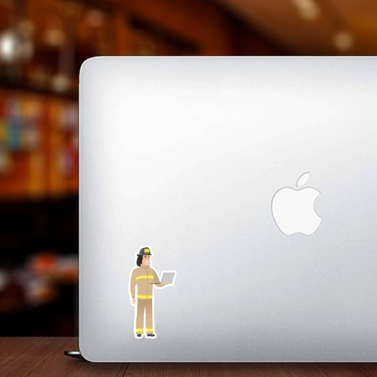 Firefighter In Uniform Using Laptop Sticker