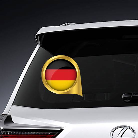 Flag Of Germany In Golden Map Pin Sticker example