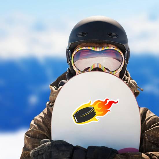 Flaming Hockey Puck Sticker
