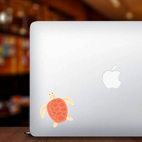 Flat Illustrated Red Shell Turtle Sticker