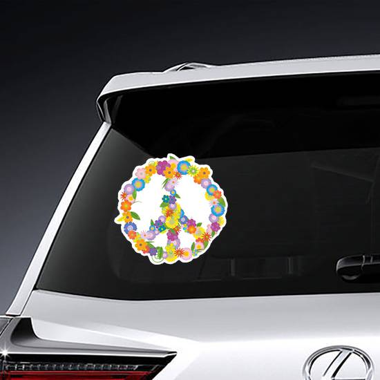 Floral Peace Sign Sticker example