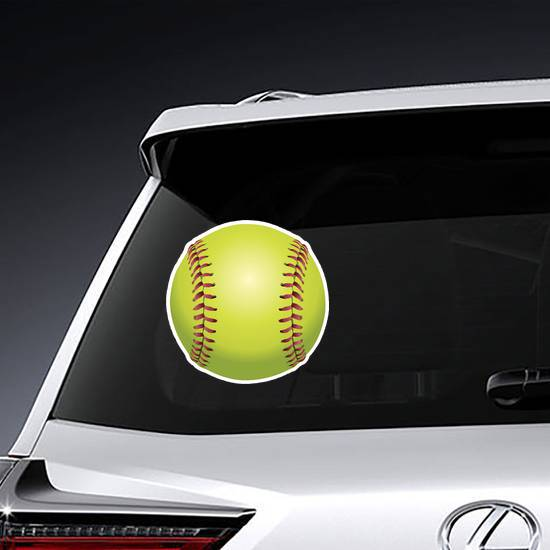 Front Facing Yellow Softball Sticker