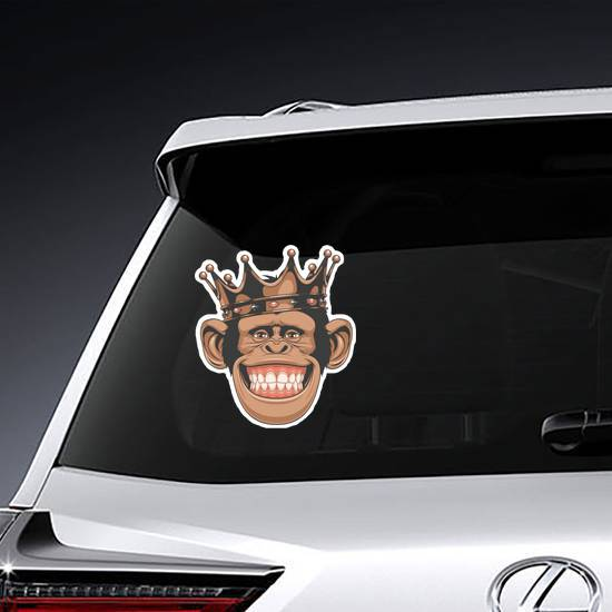 Funny Monkey Crown Sticker