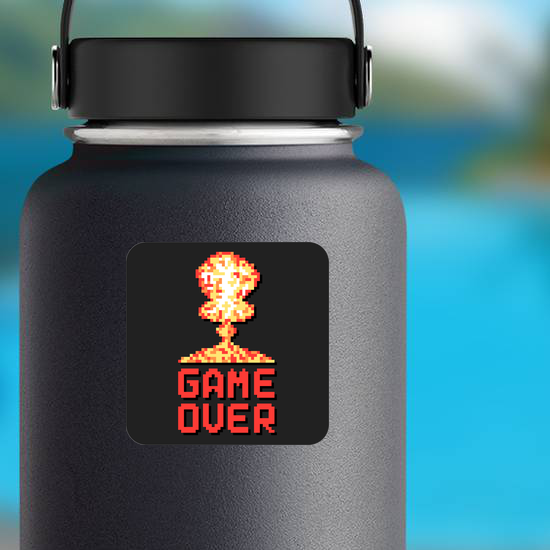 Game Over With Pixel Art Explosion Sticker
