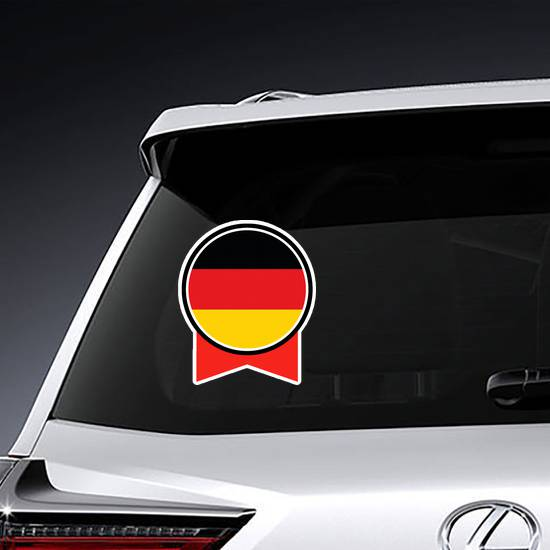 Germany Flag Button And Ribbon Sticker example