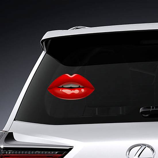 Glossy Female Red Lips Sticker