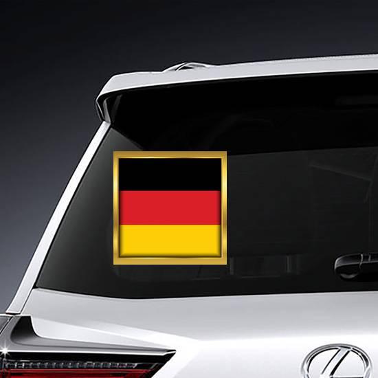 Golden Frame Germany Flag Square Sticker example