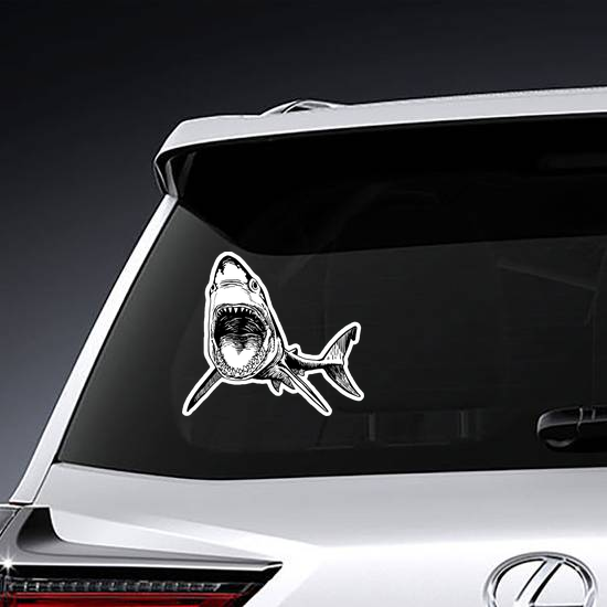 Graphic Shark With Open Mouth Sticker