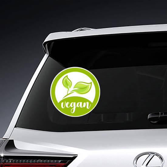 Green Vegan Food Icon Sticker