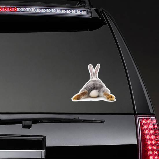 Grey Rabbit Behind Sticker