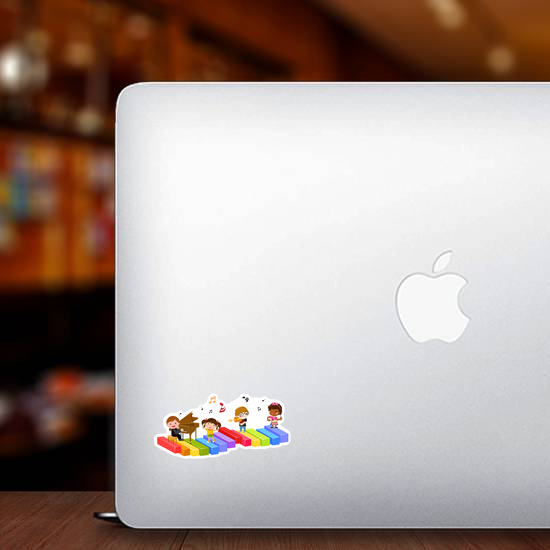 Group Of Children And Music Sticker