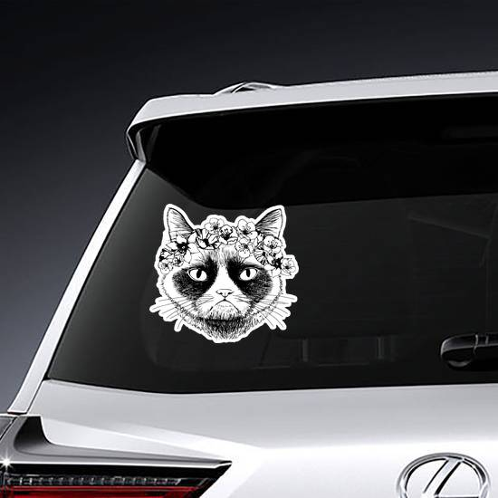 Grumpy Cat With Circlet Of Flowers Sticker example
