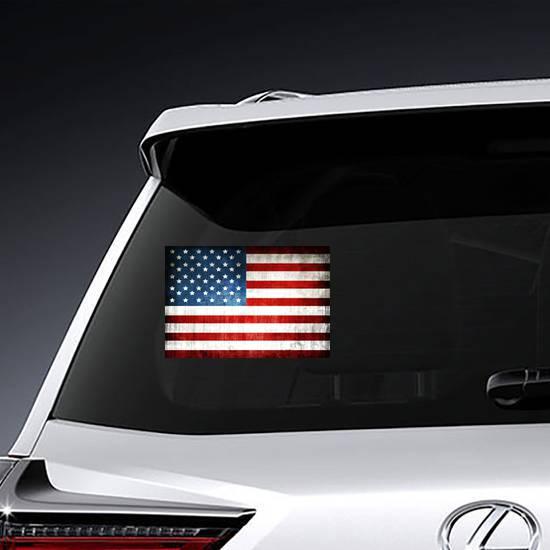 Grunge American Flag Sticker example