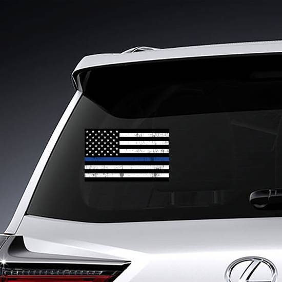 Grunge Law Enforcement Thin Blue Line USA Flag example