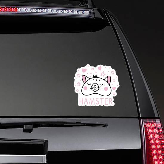 Hamster Illustration In Pink Sticker