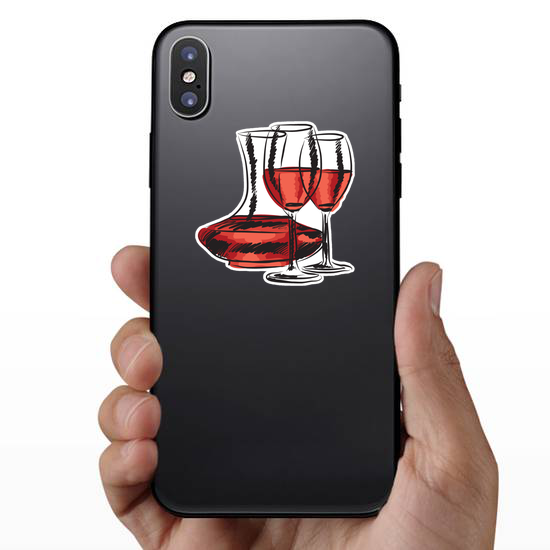 Hand Drawn Wine Glass And Bottle