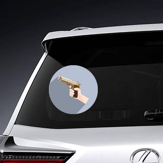 Hand With A Gun Circle Sticker