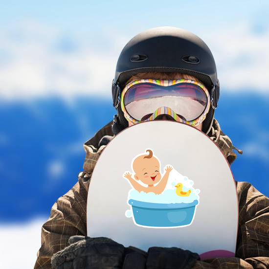 Happy Baby Taking A Bath Sticker