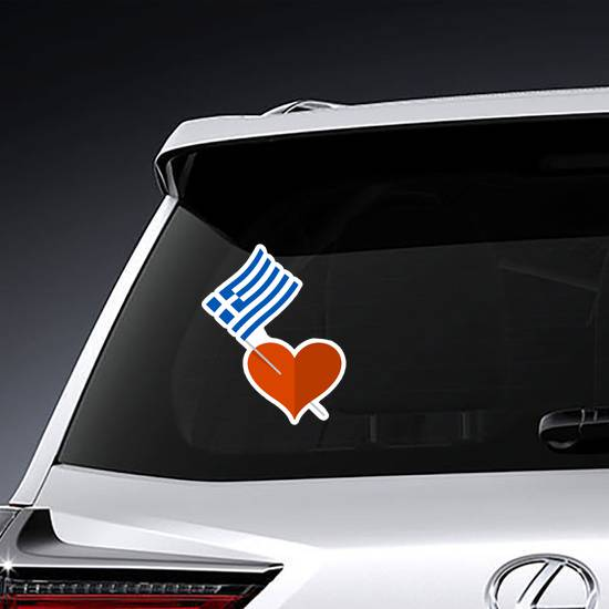 Heart Icon With Greece Flag Sticker example