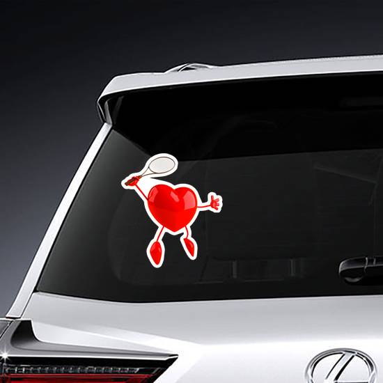 Heart Playing Tennis Sticker