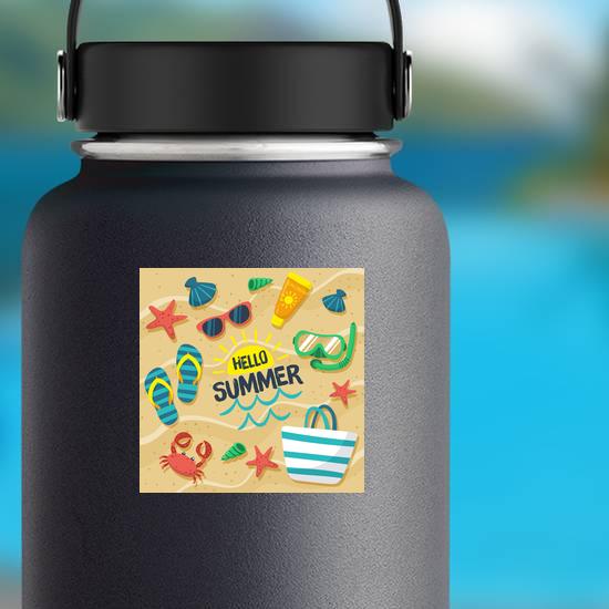 Hello Summer Beach Sticker