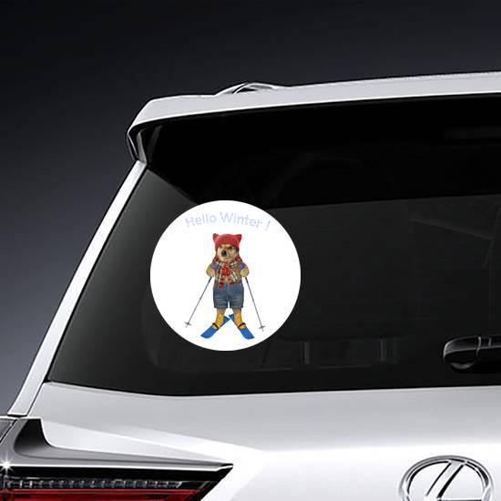 Hello Winter Dog On Skis Sticker