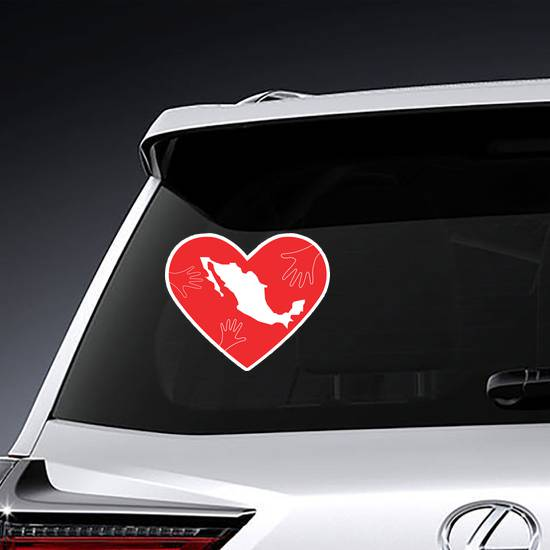 Helping Hands Heart And Mexico Map Sticker example