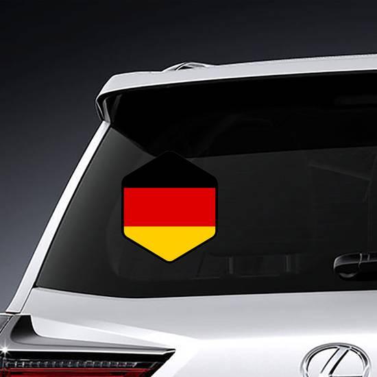 Hexagon German Flag Sticker example