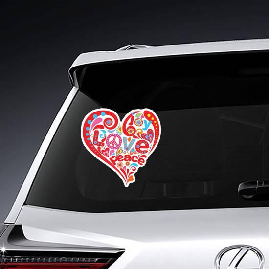 Hippie Heart Peace Sticker example