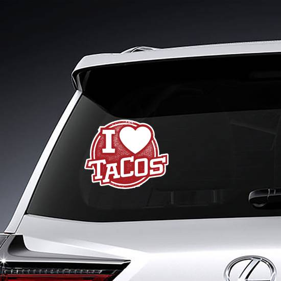 I Love Tacos Rubber Stamp Sticker
