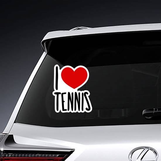 I Love Tennis Illustration Sticker