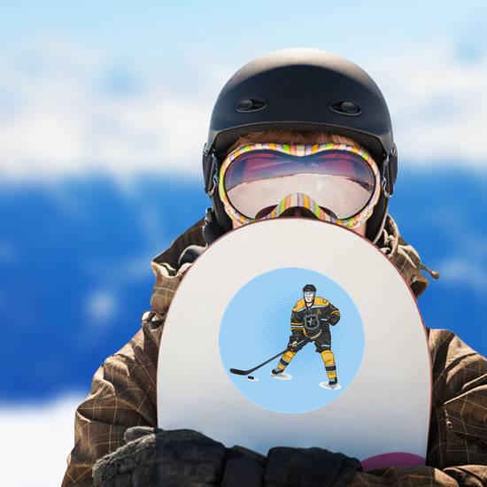 Ice Hockey Player Wearing Yellow Sticker