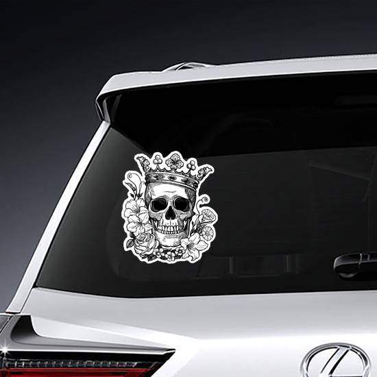 Illustrated Crown and Skull Sticker example