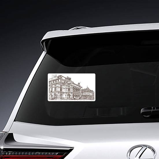 Illustrated View Of Vienna Austria's Capital Sticker example