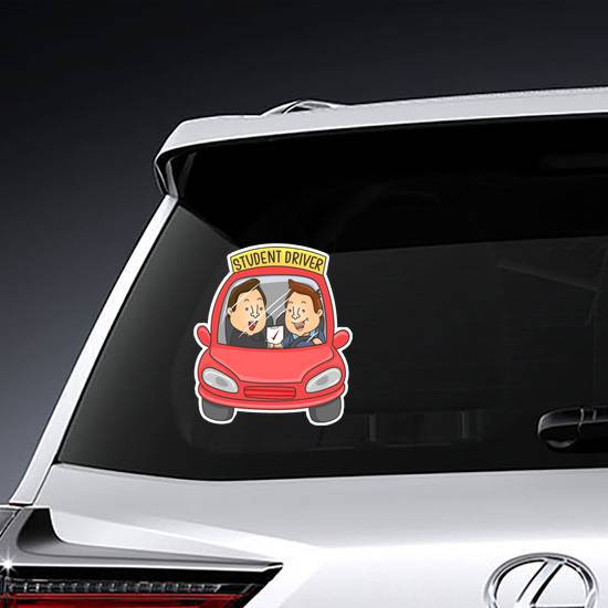Illustration Of A Red Car Student Driver Sticker example
