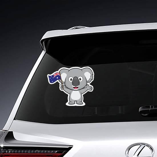 Koala Holding Australian Flag Sticker